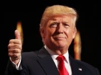CLEVELAND, OH - JULY 21: Republican presidential candidate Donald Trump gives two thumbs up to the crowd during the evening session on the fourth day of the Republican National Convention on July 21, 2016 at the Quicken Loans Arena in Cleveland, Ohio. Republican presidential candidate Donald Trump received the number …