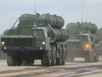 MOSCOW REGION, RUSSIA - APRIL 5, 2017: S-300 long range surface-to-air missile systems seen at Alabino Range during a rehearsal for the upcoming 9 May military parade marking the 72nd anniversary of the victory over Nazi Germany in World War II. Valery Sharifulin/TASS (Photo by Valery SharifulinTASS via Getty Images)