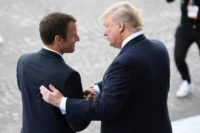 US President Donald Trump, right, and France's Emmanuel Macron talk regularly, have shared memorable handshakes and claim an