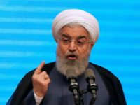 Iran's president Hassan Rouhani gives a speech in the city of Tabriz in the northwestern East-Azerbaijan province on April 25, 2018, during an event commemorating the city as the 2018 capital of Islamic tourism