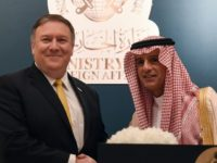 US Secretary of State Mike Pompeo shakes hands with Saudi Foreign Minister Adel al-Jubeir at a press conference in Riyadh on April 29, 2018