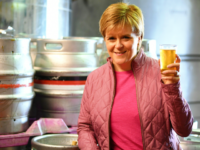BARRHEAD, SCOTLAND - JUNE 02: SNP leader Nicola Sturgeon has a ping of beer as she takes a tour of Kelburn Brewery while campaigning for the General Election on June 2, 2017 in Barrhead, East Renfrewshire, Scotland. Polls are showing the SNP out in front and the Conservatives set to close in on Labour as the general election approaches next week. (Photo by Jeff J Mitchell/Getty Images)