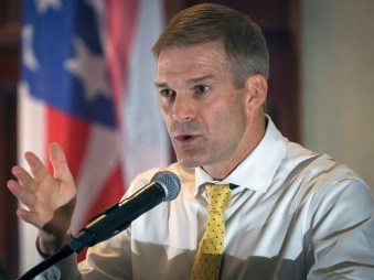Rep. Jim Jordan, R-Ohio, speaks to supporters gathered at The Champions of Liberty Rally in Hebron, Ky., Friday, Aug 11, 2017. Rep. Jordan was joined at the fundraising event by Kentucky Gov. Matt Bevin, U.S. Rep. Thomas Massie, R-Ky., and Sen. Rand Paul, R-Ky. (AP Photo/Bryan Woolston)