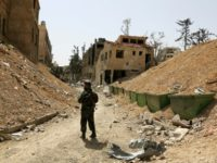 The former rebel-held Syrian town of Douma was hit by an alleged chemical attack in April