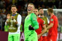 Standing tall: Jordan Pickford's penalty save helped England reach the World Cup quarter-finals