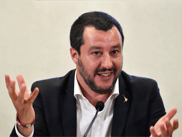 Italys Interior Minister and deputy Prime Minister Matteo Salvini speaks during a joint press conference with Vice President of the Presidential Council of Libya, at the Viminale palace in Rome, on July 5, 2018. (Photo by ANDREAS SOLARO / AFP) (Photo credit should read ANDREAS SOLARO/AFP/Getty Images)