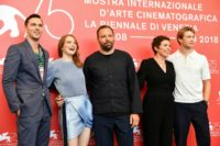 "(From L) Actor Nicolas Hoult, actress Emma Stone, director Yorgos Lanthimos, actress Olivia Colman and actor Joe Alwyn attend a photocall for the film ""The Favourite"", which has taken the Venice film festival by storm"