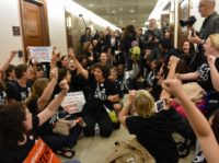 Hundreds of protesters who claim Supreme Court nominee Brett Kavanaugh is a sexual predator gathered at the Hart Senate Office Building on Monday chanting that they believe his accuser, Christine Blasey Ford, who has alleged he groped her at a high school party decades ago.