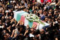 Iranians carry a coffin during a public funeral ceremony on September 24, 2018 for people killed during a weekend attack on a military parade in the southwestern Iranian city of Ahvaz