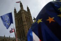 Six months before Britain is due to leave the European Union, gross domestic product (GDP) registered zero growth