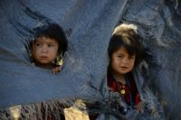 Drought-displaced Afghan children at a camp for internally displaced people in Herat province