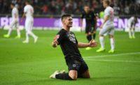 Eintracht Frankfurt's Serbian striker Luka Jovic celebrates one of his five goals on Friday