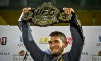 UFC officials say they have not been approached by Floyd Mayweather about a possible boxing bout against UFC lightweight champion Khabib Nurmagomedov of Russia, shown with his title belt