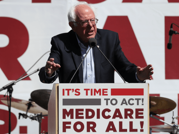 U.S. Sen. Bernie Sanders (I-VT) speaks during a health care rally at the 2017 Convention of the California Nurses Association/National Nurses Organizing Committee on September 22, 2017 in San Francisco, California. Sen. Bernie Sanders addressed the California Nurses Association about his Medicare for All Act of 2017 bill. (Photo by …