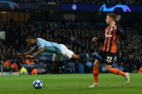 Manchester City's Raheem Sterling was awarded a comical penalty after kicking the ground in a 6-0 thrashing of Shakhtar Donetsk