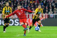 Poland striker Robert Lewandowski marked his 100th European outing with two goals