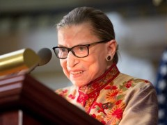 WASHINGTON, DC - MARCH 18: U.S. Supreme Court Justice Ruth Bader Ginsburg speaks at an annual Women's History Month reception hosted by Pelosi in the U.S. capitol building on Capitol Hill in Washington, D.C. This year's event honored the women Justices of the U.S. Supreme Court: Associate Justices Ruth Bader …