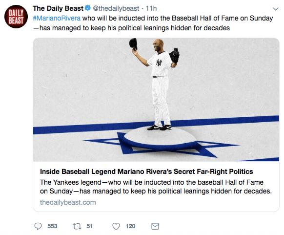 Daily Beast Mariano Rivera tweet (Screen grab / Twitter)