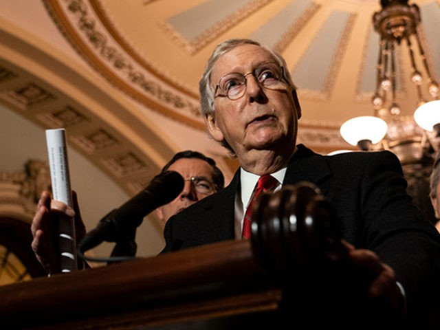 WASHINGTON, DC - NOVEMBER 19: Senate Majority Leader Mitch McConnell (R-KY) speaks during his weekly press conference at the U.S. Capitol on November 19, 2019 in Washington, DC. Republicans spoke about their desire to work on their legislative agenda despite the impeachment hearings in the House. (Photo by Alex Edelman/Getty …