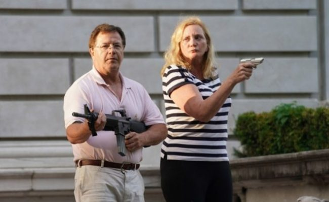 St Louis Couple Point Guns At Protesters Breitbart