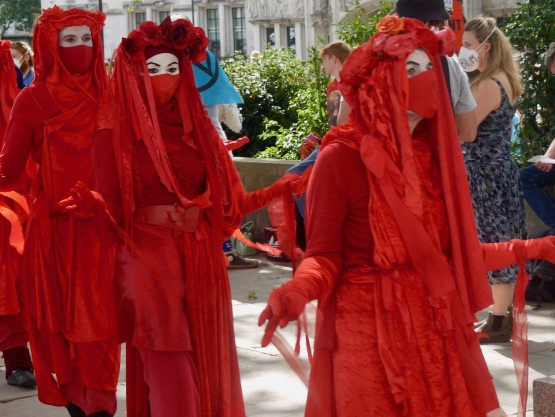 Members of the Red Rebellion Brigade march in Parliament Square, London on September 1st, 2020. Kurt Zindulka, Breitbart News