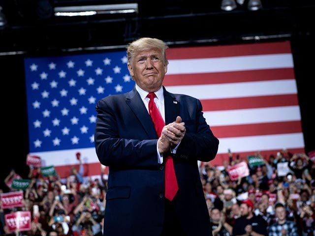 US President Donald Trump gestures during a Keep America Great Rally at Kellogg Arena December 18, 2019, in Battle Creek, Michigan. (Photo by Brendan Smialowski / AFP) (Photo by BRENDAN SMIALOWSKI/AFP via Getty Images)
