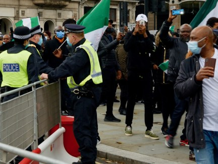 Hundreds of protesters against police brutality in Nigeria took to the streets of London on October 24, 2020. Kurt Zindulka, Breitbart News