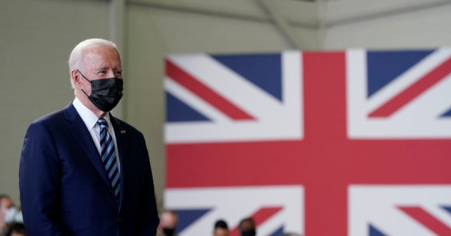 , Vaccinated Joe Biden Wears a Mask While Visiting American Troops in United Kingdom, Nzuchi Times Breitbart