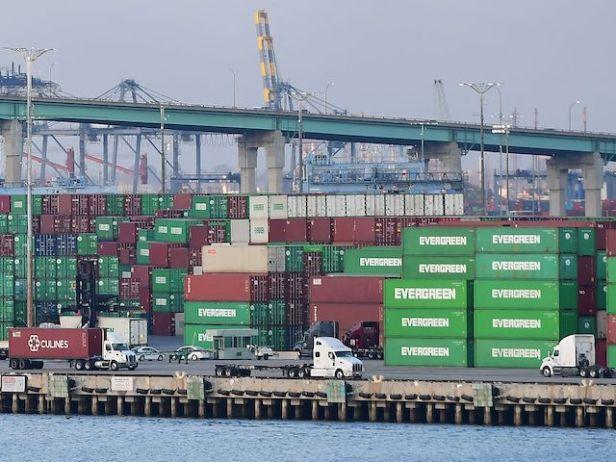 Containers stacked high are seen at the Port of Los Angeles on September 28, 2021, in Los Angeles, California. (Frederic J. Brown/AFP via Getty Images)