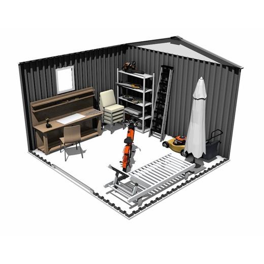 abri de jardin metal epais avec fenetre derby 7 06 m2