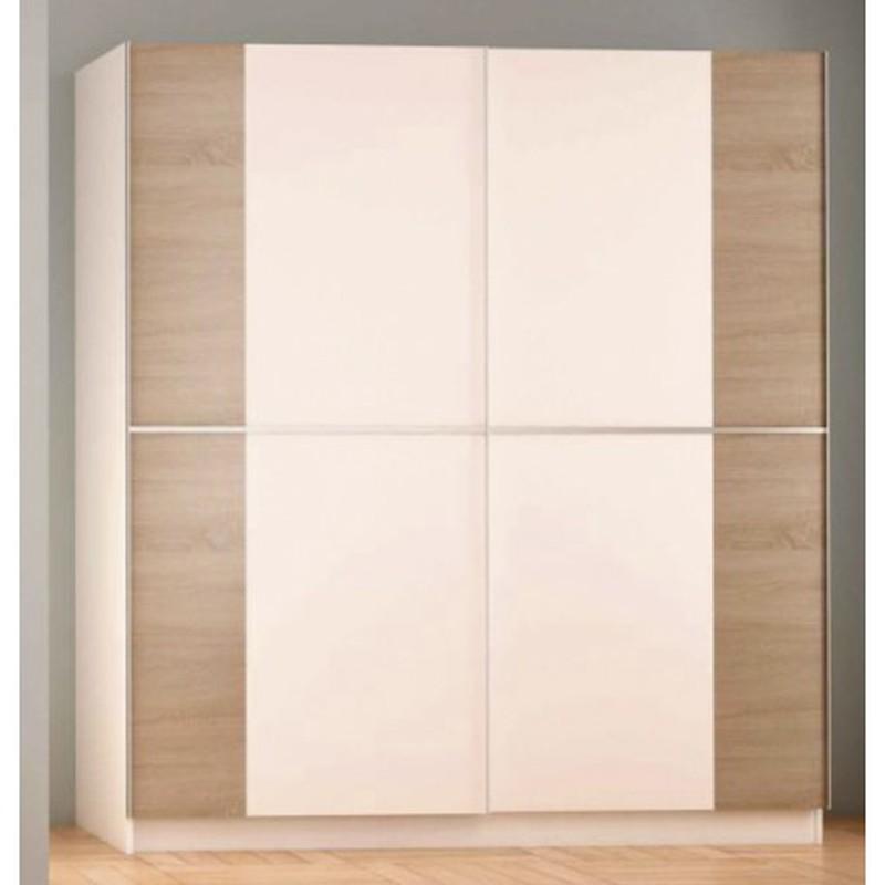 armoire penderie 2 portes coulissantes poro blanc finition chene