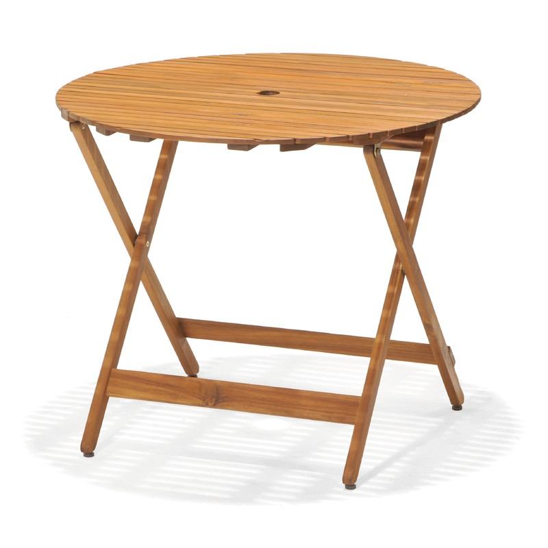 table pliante ronde en bois d acacia chillvert diametre 90 cm hauteur 75 cm