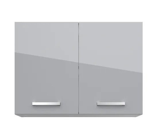 haut 80 cm 2 portes elibox 243303 gris brillant