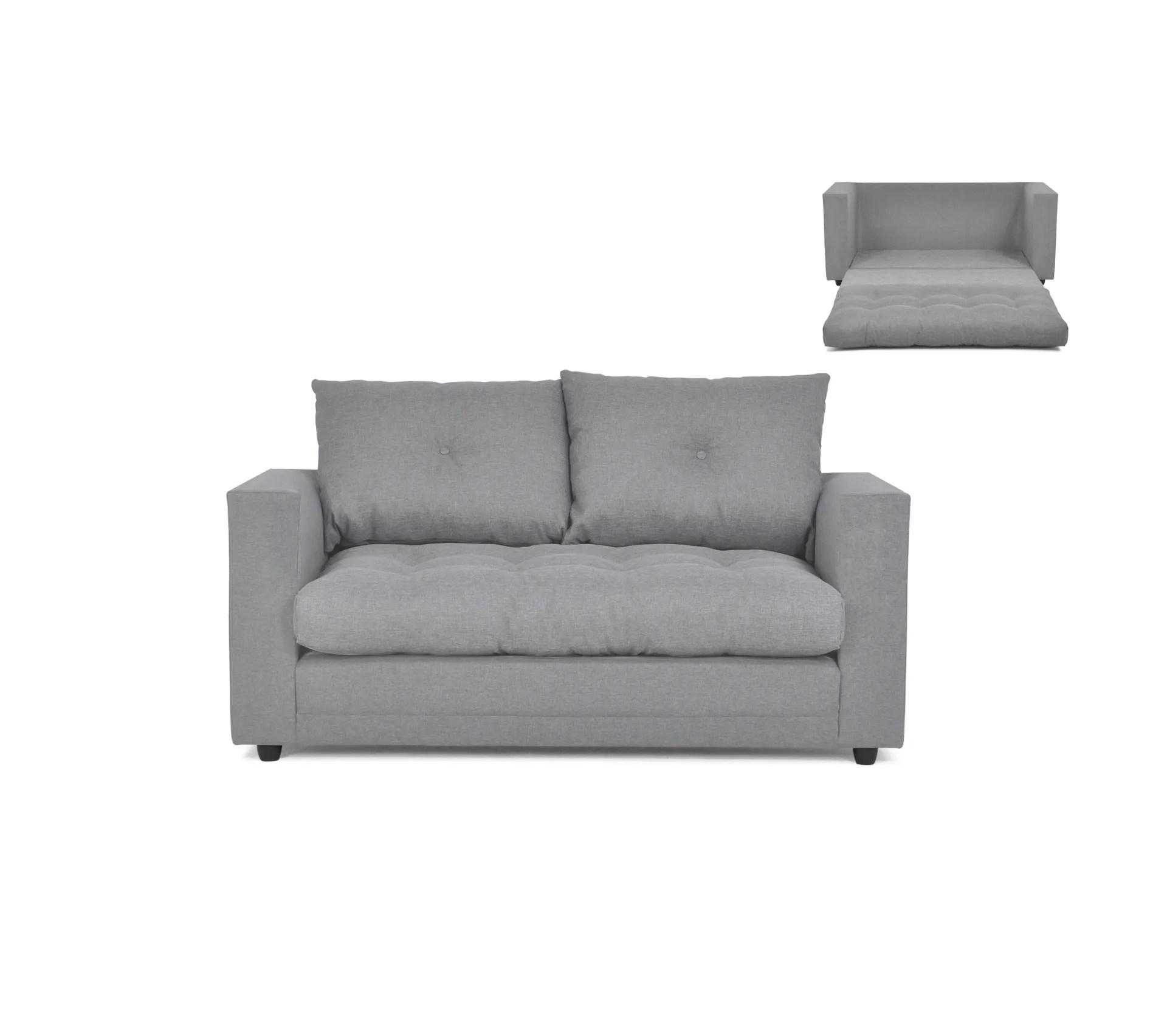canape 2 places convertible tissu gris clair
