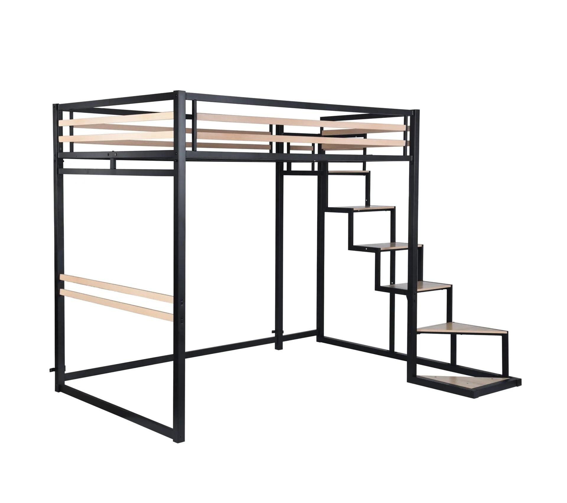 lit mezzanine 2 personnes 140x200 cm metal noir et bois clair