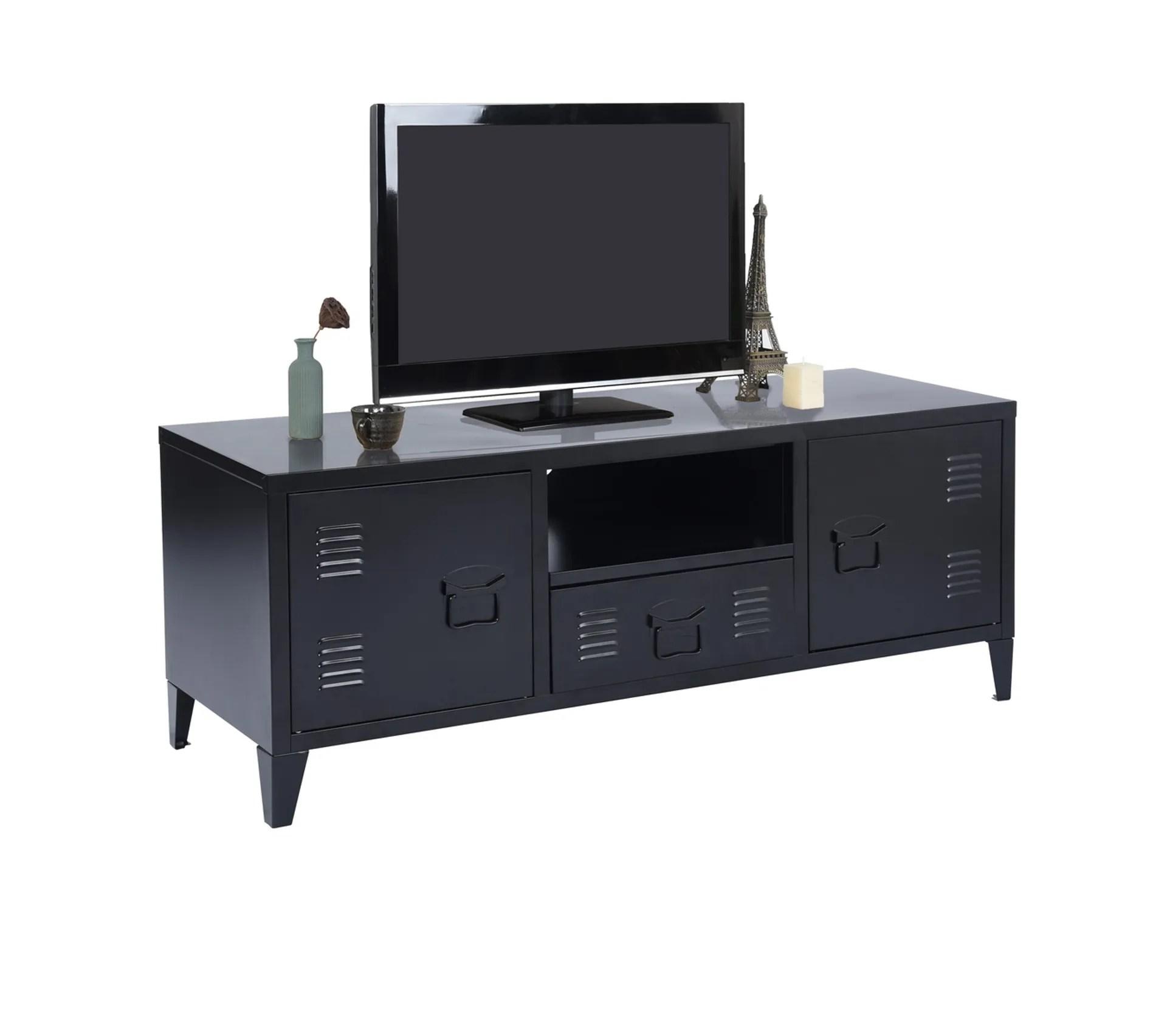 meuble tv metal avec 1 niche 2 portes style industriel noir