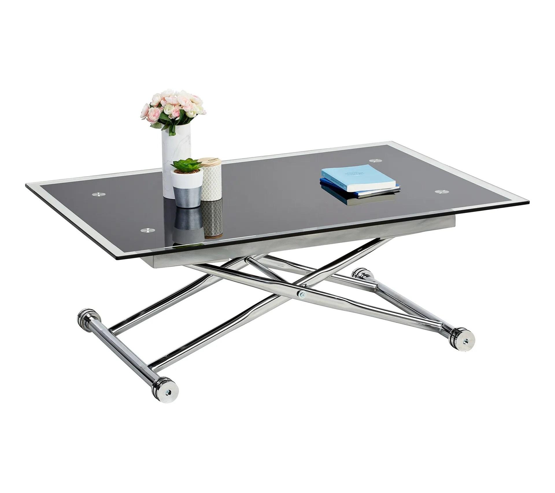 table basse relevable up down 2 verre et chrome