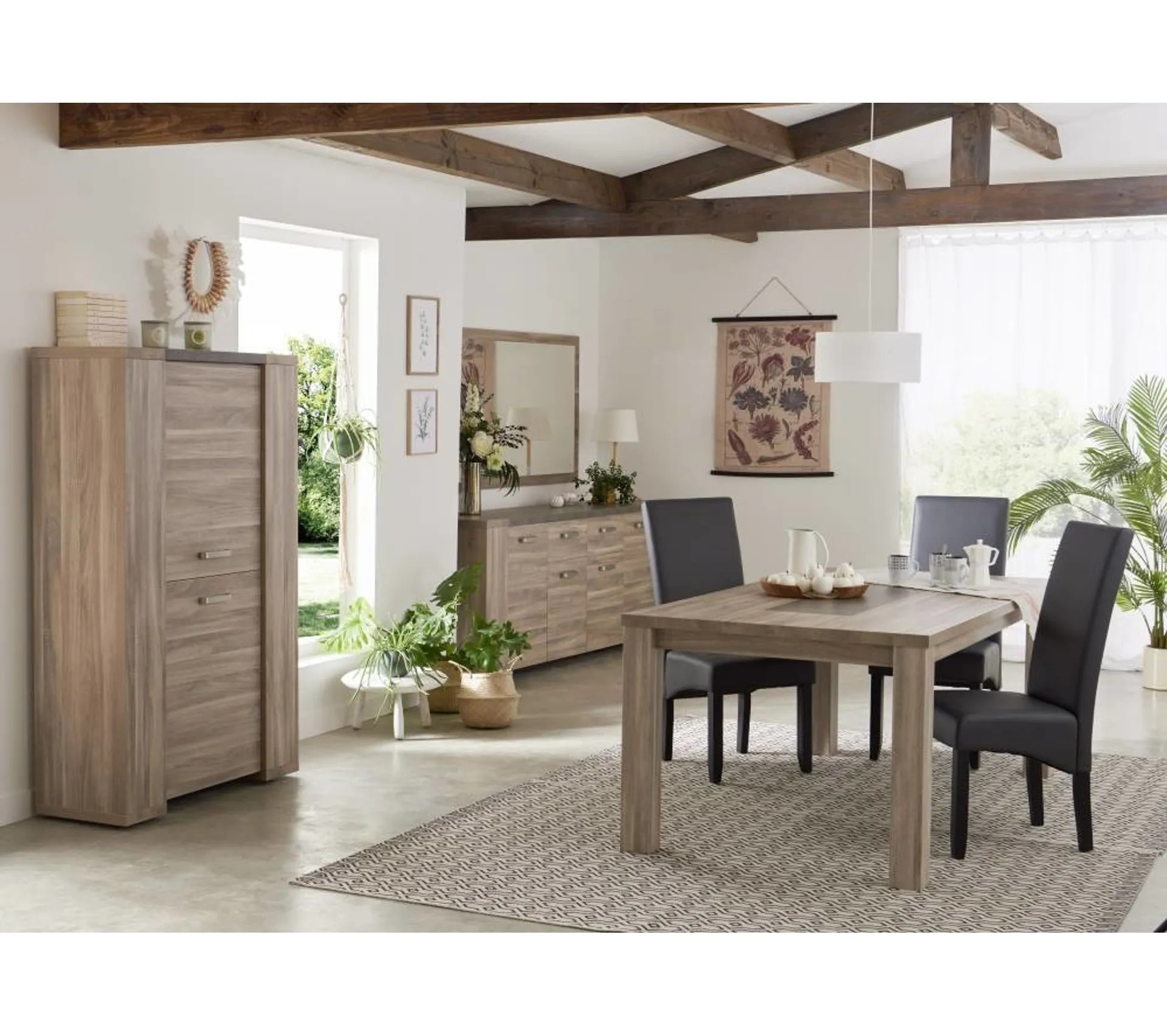 table l 170 rectangulaire stone chene gris