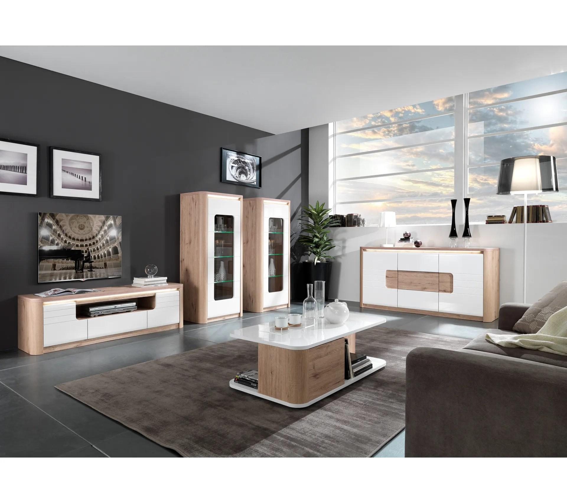 meuble tv l 150 cm bellini decor chene blanc