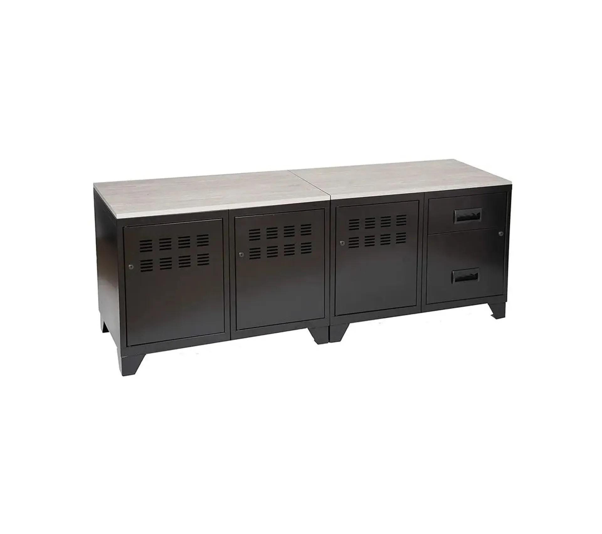 meuble tv bois metal industriel noir