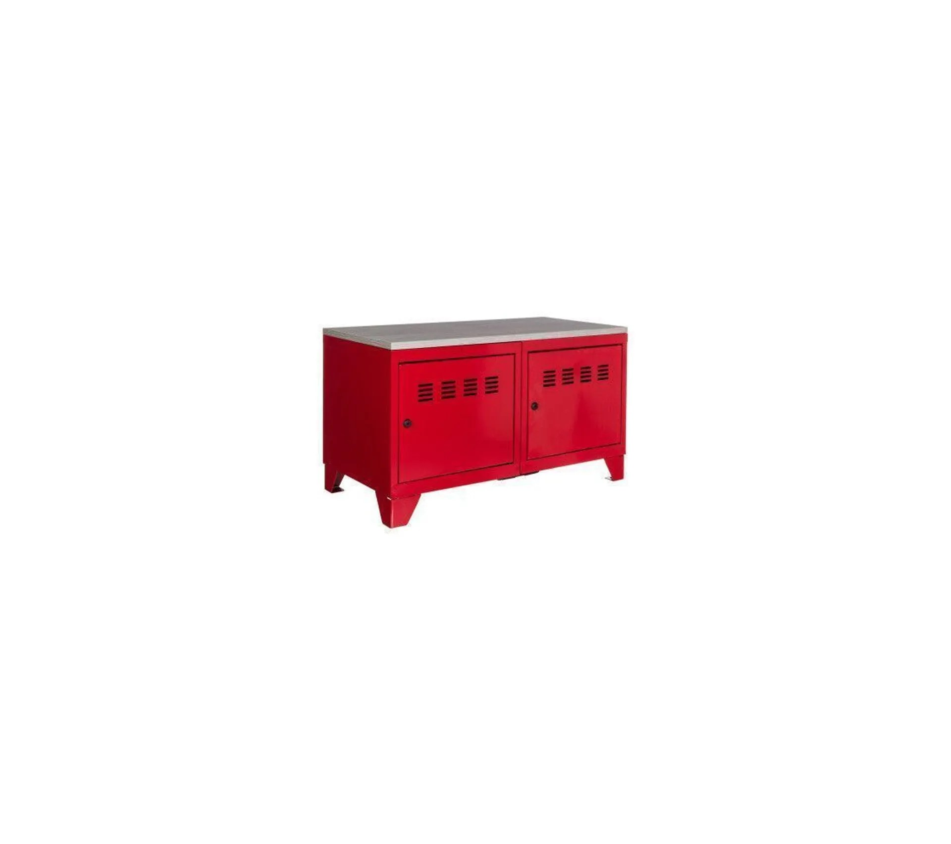 meuble bas industriel metal rouge
