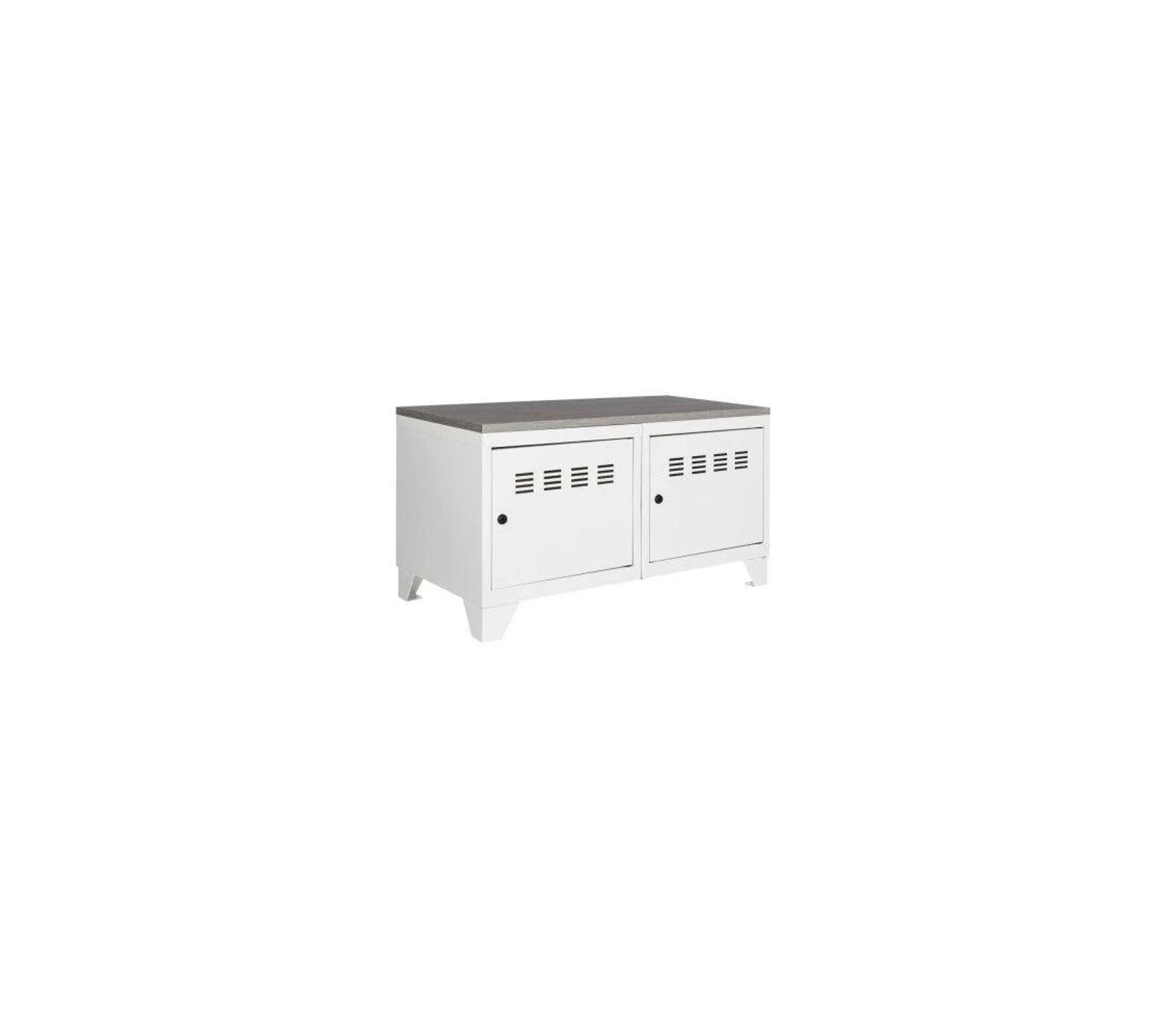 meuble bas industriel metal blanc