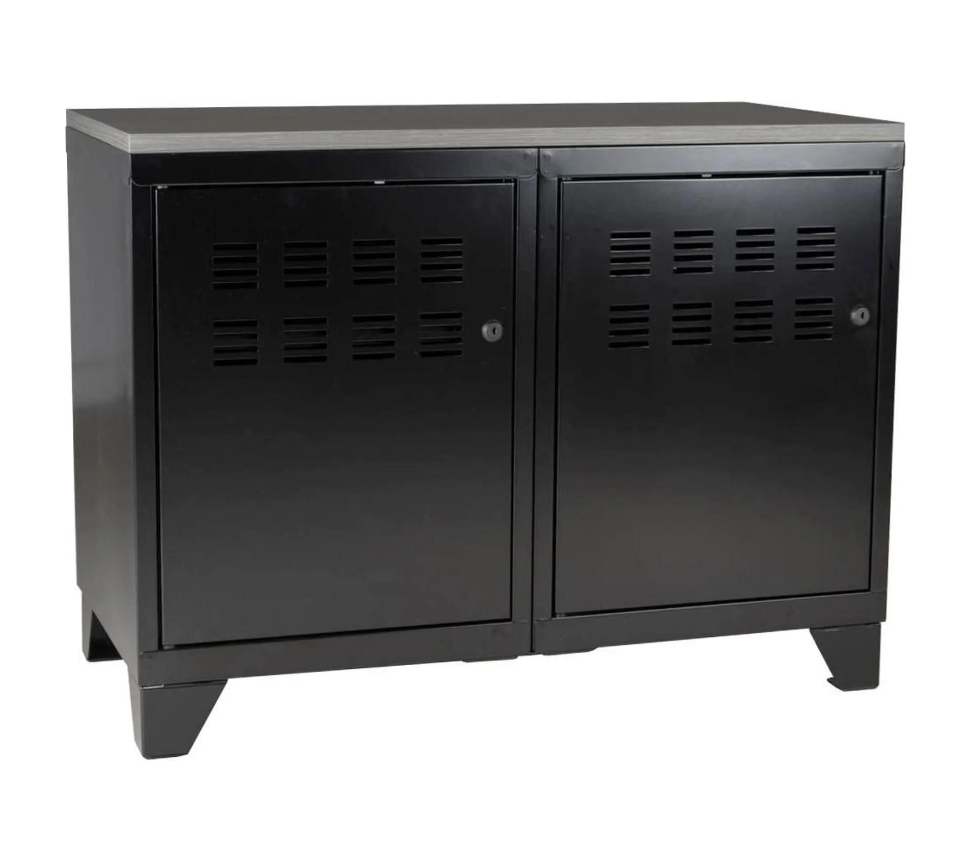 meuble rangement metallique 2 portes noir