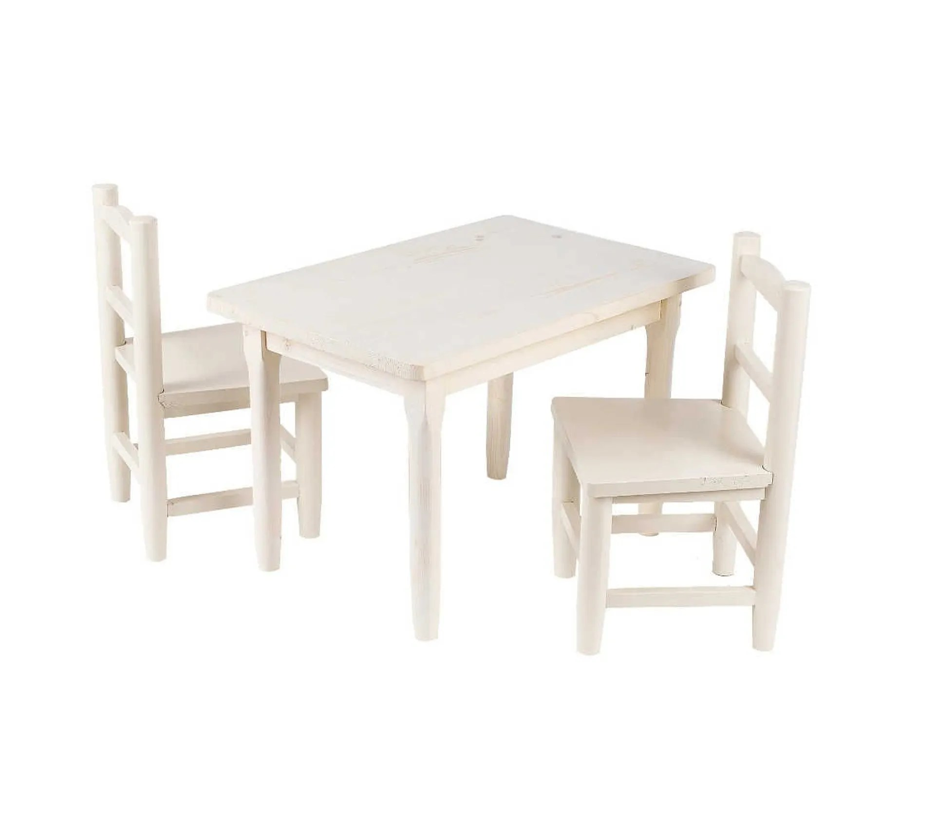salon enfant 1 table 2 chaises en pin blanchi