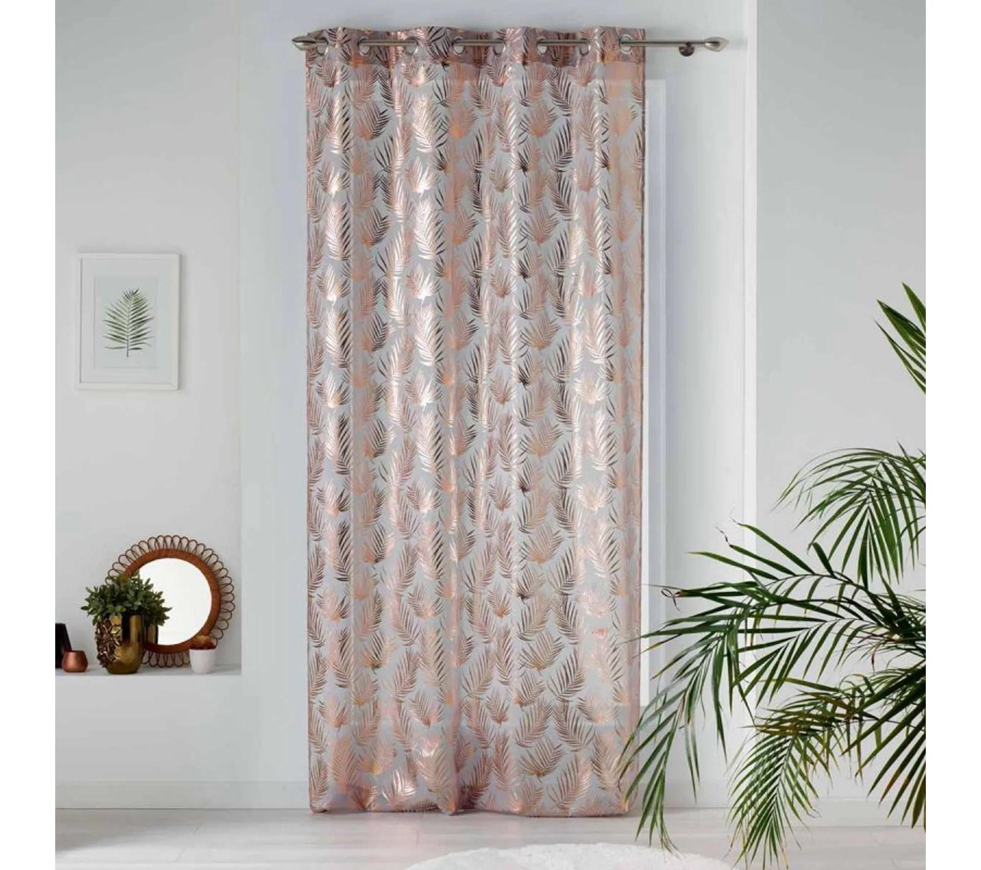 rideau voilage a oeillets kolza 130x240 cm gris et or rose