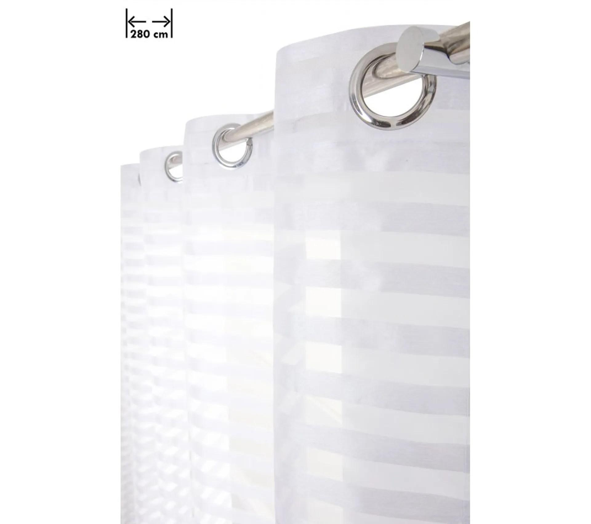 voilage 280 x 160 cm grande largeur rayures horizontales bandes aspect soie blanc