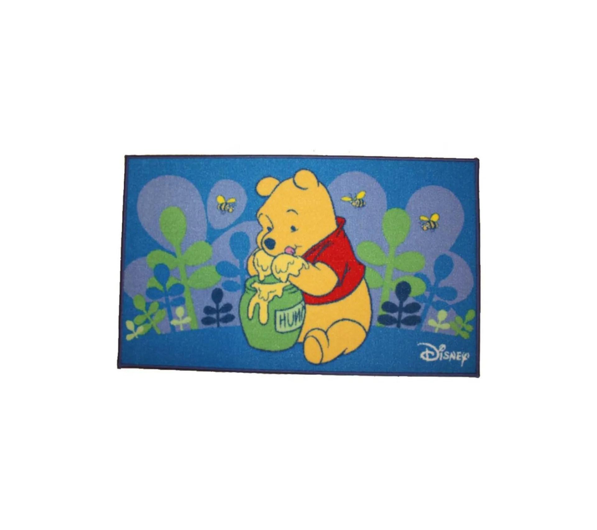 50x80 tapis enfant rectangulaire winnie lourson miel bleu