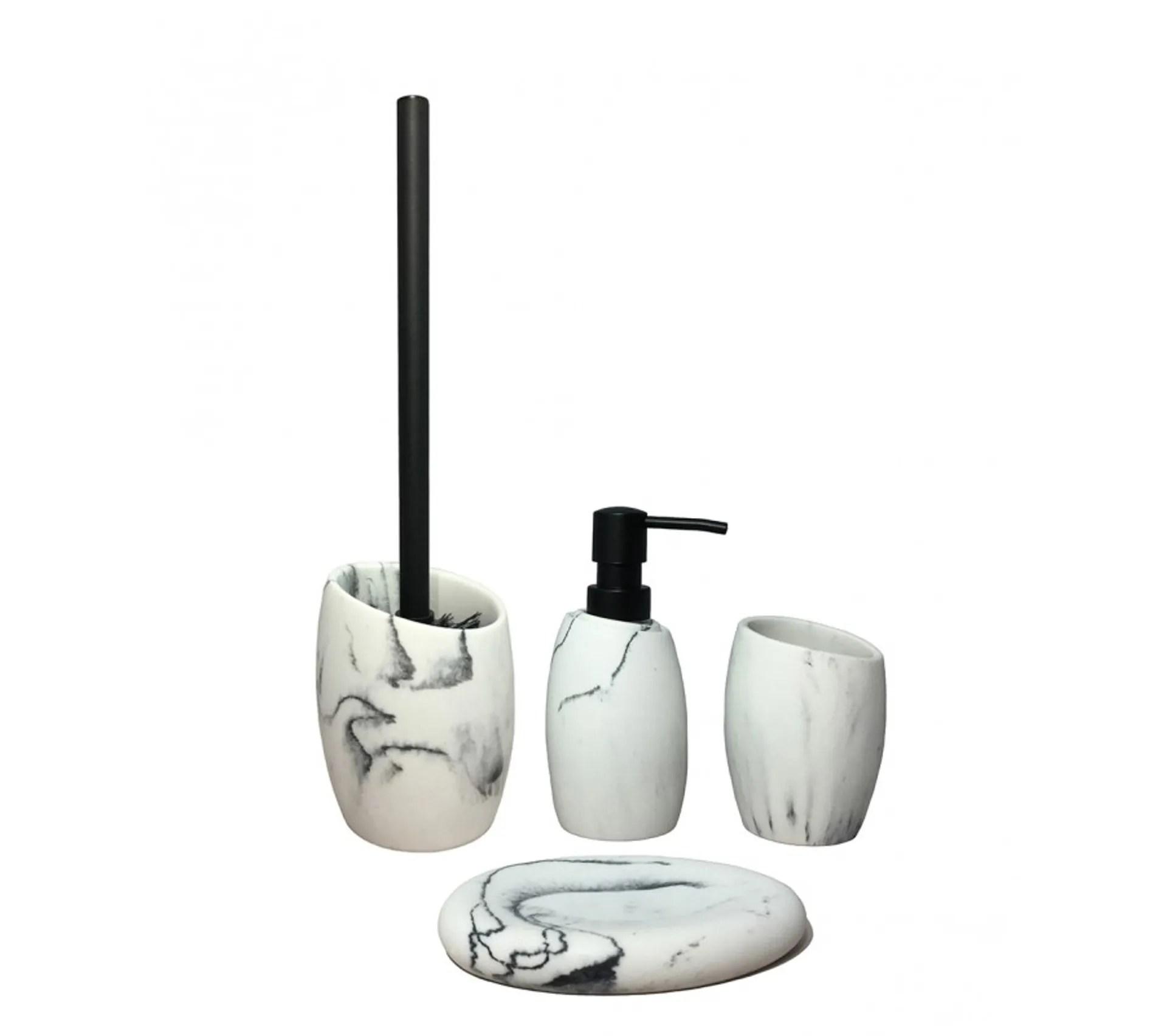 set 4 accessoires salle de bain blanc carla