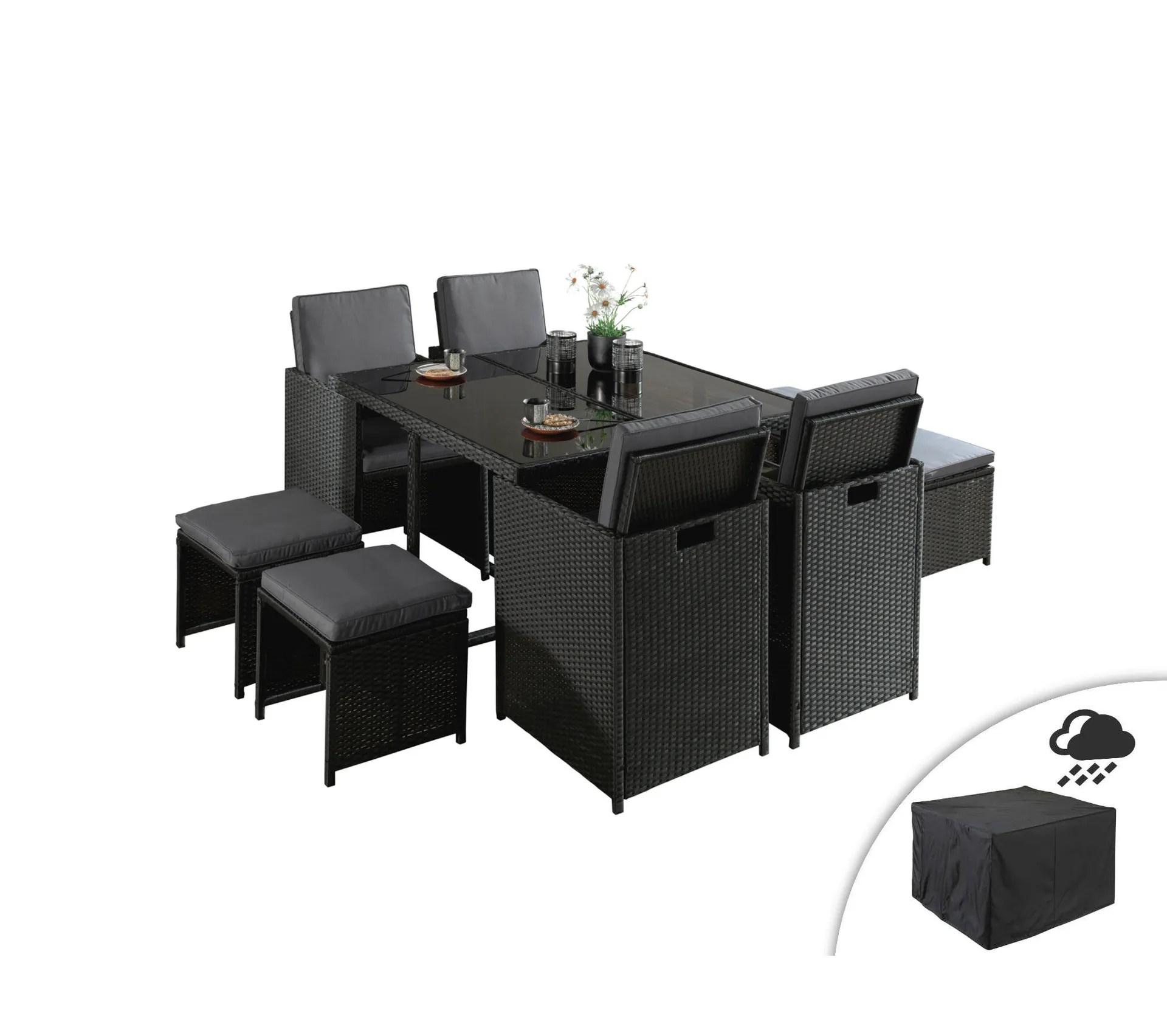 sophia salon de jardin encastrable 8 places en resine tressee noir avec coussins gris housse