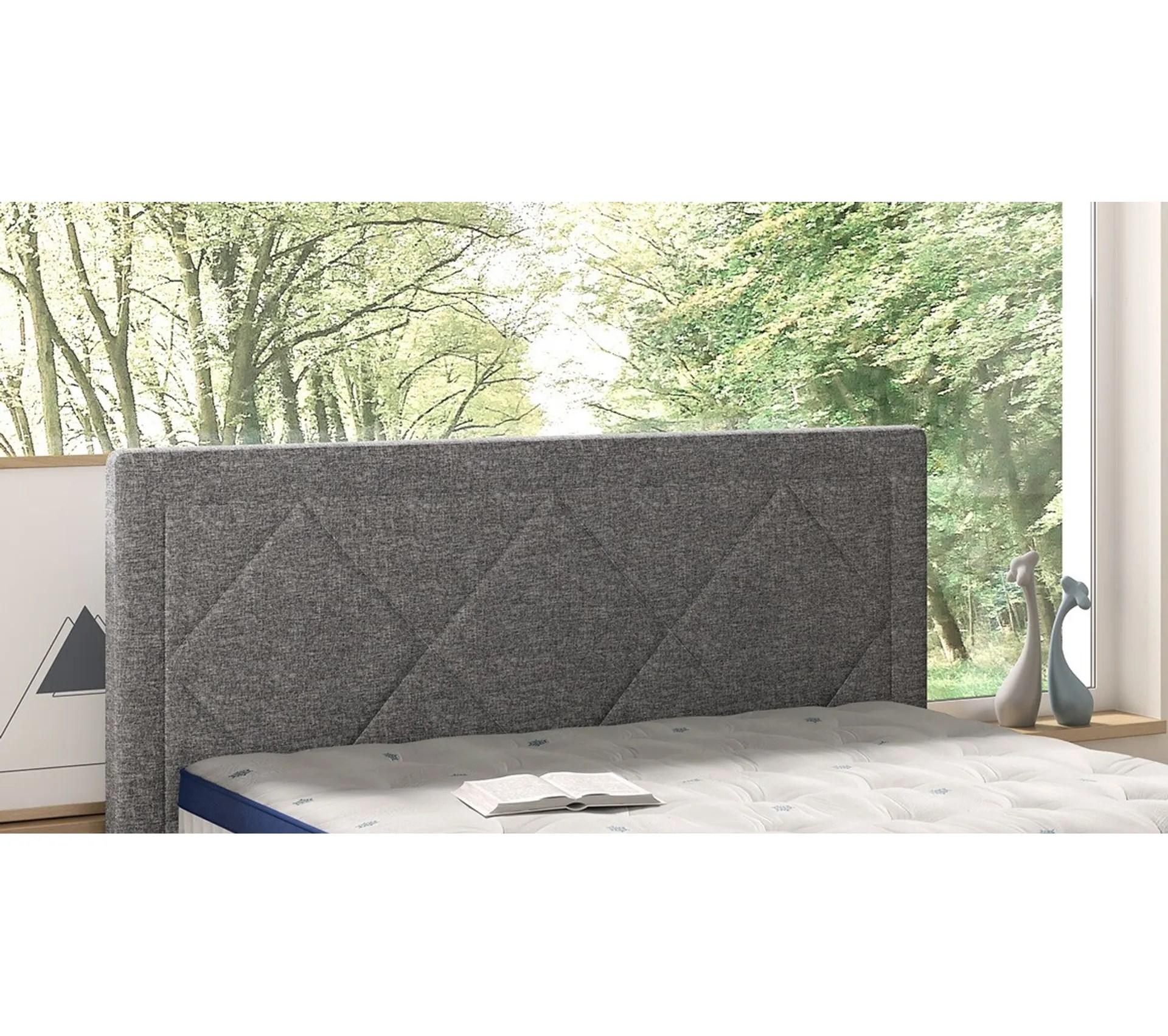 tete de lit tissu gris 140 cm signature lenny